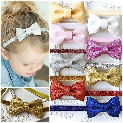 Christmas Xmas Baby Girl Headband Hairband Sequin Glitter Sparkly Bow Party