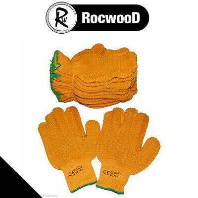 Yellow Criss Cross Gripper Gloves Large Size Pack Of 10