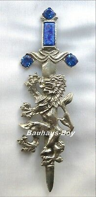 KILT PIN PEWTER RAMPANT LION FAUX SAPPHIRE by MIRACLE ANTIQUE FINISH FOR KILTS