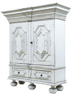 19Th Century Painted Gothic Swedish Cabinet Cupboard