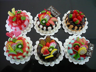 Set of 6 Mix Colorful Round Cakes Fruit Top Dollhouse Miniatures Food -Sauce1
