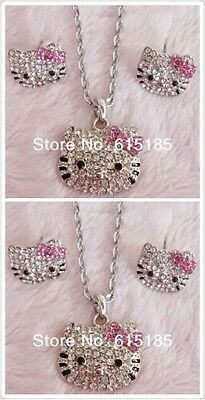 Hello  Kitty  Pink Bow Face Crystal  Necklace  and Earring Set