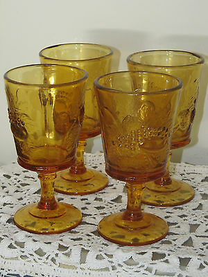 4 Strawberry & Currant Amber LG Wright drinking glasses Goblet stemware