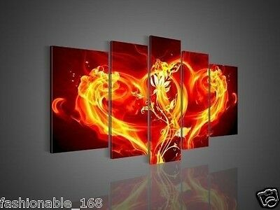 5 Pie Wall Art Modern Abstract Fresh Look Color Fire Love Oil Painting no frame