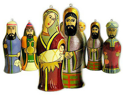 Nativity Russian Christmas Ornament wooden Set of 7 hand carved and hand painted