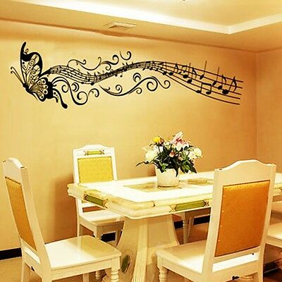 Removable VINYL Music butterfly Wall Decal Stickers Art Mural Home Decor