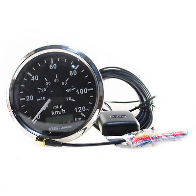 KUS GPS Stainless Steel Bezel Speedometer Gauge 85mm 12V/24V Marine Boat Black