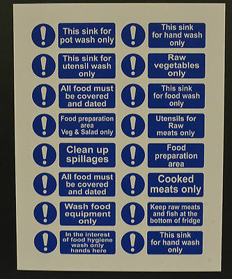 Food & Hygiene Sign Or Sticker Choice Of Styles 150mmx50mm Sink Wash Untensils