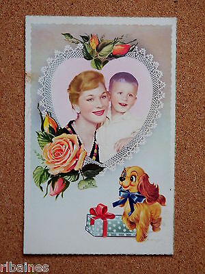 R&L Postcard: Mother Son Love Heart Shabby Chic Lace, Roses Dog, French