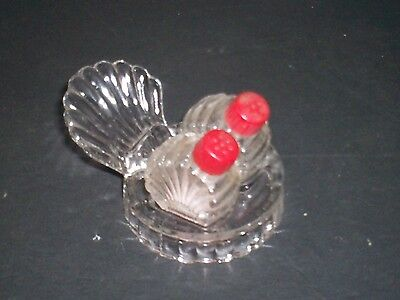 Vintage Glass Salt Pepper Shakers Fan Turkey Tail Tray w Red Bake-O-Lite Caps