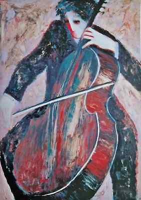 "Barbara Wood ""THE CELLIST"" Hand Signed Limited Edition Lithograph Art"