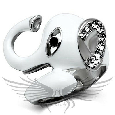 Stainless Steel Brilliant Top Grade Crystal Elephant Ring 5 6 7 8 9 10 TK663 *