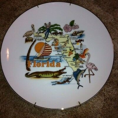 STATE OF FLORIDA COLLECTORS PLATE Gold Rimmed - Made In Japan