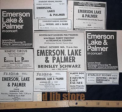 Emerson, Lake & Palmer - 11 Small Uk Concert, Gig Press Paper Adverts/ads 1970