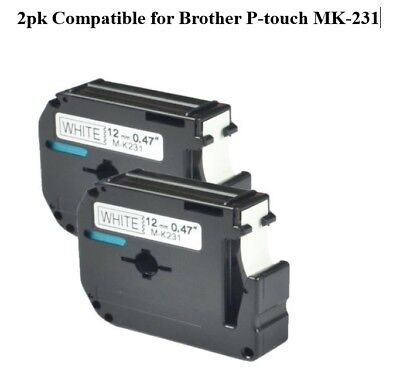 2 Brother M Series Label M-K231 M231 Black White Compatible Tape 26.2' x 12mm