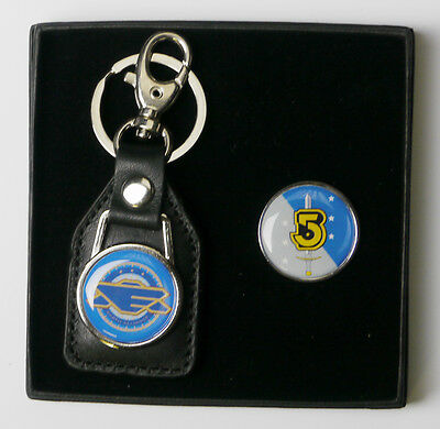 BABYLON FIVE Earth Alliance Crew Prop Tie Pin / Badge & Keyring Set (#X032)
