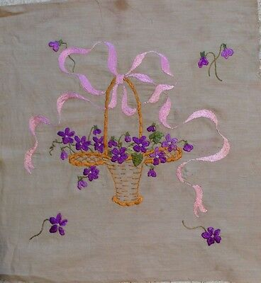 Vintage 1940s Hand-Embroidered Pillow Top Basket of Violets w Pink Ribbon