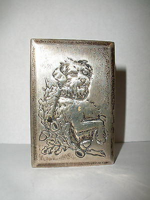 Antique sterling match safe holder with hammered dog  Theodore W. Foster & Bros