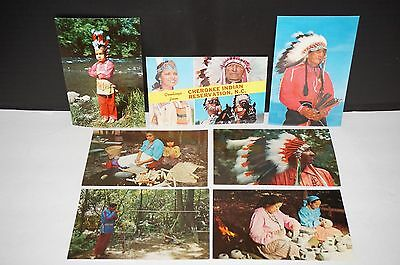 Lot of 7 Unposted Postcards 1950s Cherokee Indian Reservation NC Native American