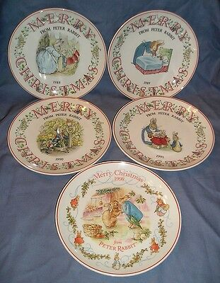 "WEDGWOOD 5 ""FROM PETER RABBIT"" CHRISTMAS PLATES W/WEDG SIGNATURE"