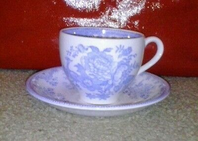 Burleigh Asiatic Pheasants teacup saucer set cup mug white blue England antique