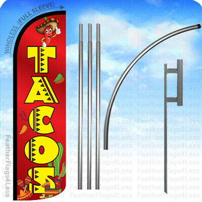 WINDLESS Swooper Feather Full Sleeve Banner Sign Flag KIT- TACOS rq