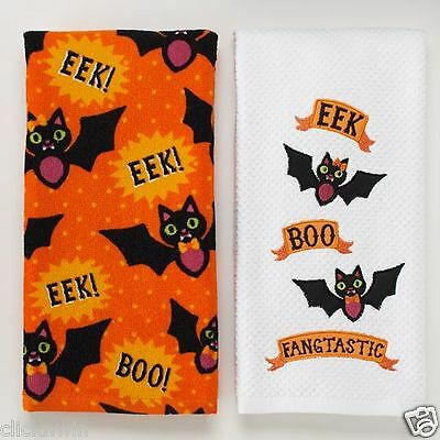 Two Halloween Midnight Market Kitchen Dish Towels Black Bats EEK! BOO! Decor NWT