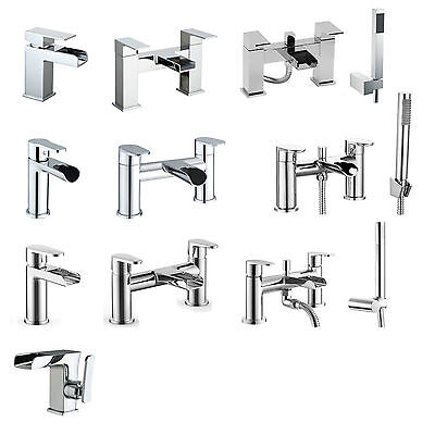 Chrome Solid Brass Waterfall Sink Basin Mono Bath Filler Shower Mixer Tap