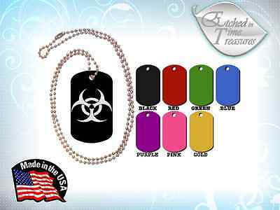 Dog Tag Military ID Custom Aluminum Engraved Etched ZOMBIE HAZARD with Chain