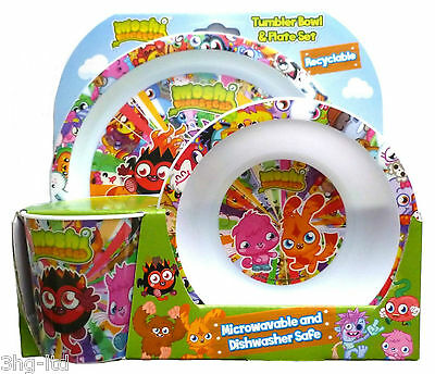 Moshi Monsters 3 Piece Dining Tumbler Bowl & Plate Set New Boxed