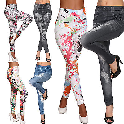 Leggins Hose Thermo Jeans-Destroyed-Look Winter Leggings Jeggings Jeansleggins