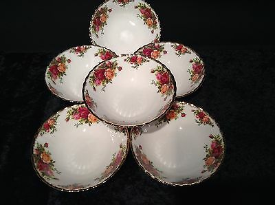 ROYAL ALBERT OLD COUNTRY ROSES DESSERT/CEREAL BOWLS x 6 - 1ST QUALITY - ENGLAND