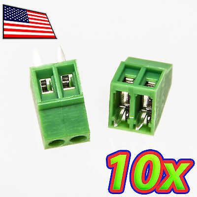 [10x] 2-Pin 2.54mm Pitch PCB Mount Screw Terminal Block Connector - Fits PCBs!