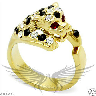 Leopard Head Top Grade Crystal Cocktail Fashion Ring 5 6 9 10 GL027