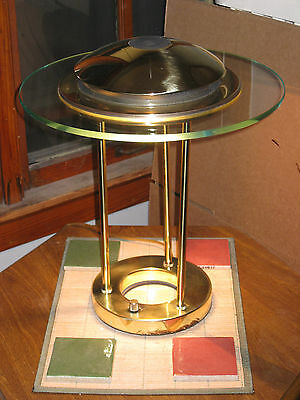Pair of Vintage Art Deco Style Glass and Brass Halogen Desk Lamp