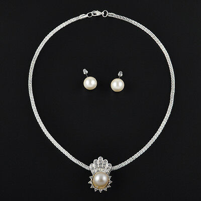Noble Women Wedding Necklace+Earrings Set Artificial Pearl Short Clavicle Chain