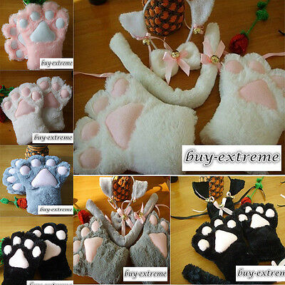 Sexy Flutty Cat Maid Cosplay Neko Anime Costume Plush Gloves Paw Ear Tail Party