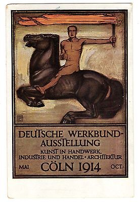 Postcard German 1914 Workers Exposition Cologne Signed Behrens