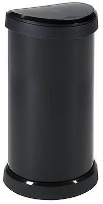 Large Black Kitchen Curver Deco 40L Litre Metal Effect One Touch Top Bin Bins
