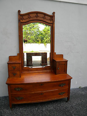 TALL EARLY CARVED VICTORIAN VANITY WITH MIRROR #5854