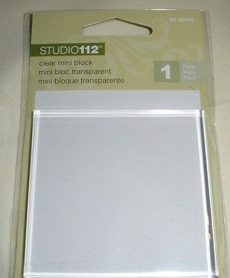 "NEW Studio 112 Clear ACRYLIC BLOCK -  Rubber Stamps 2 1/2"" x 2 1/2"""
