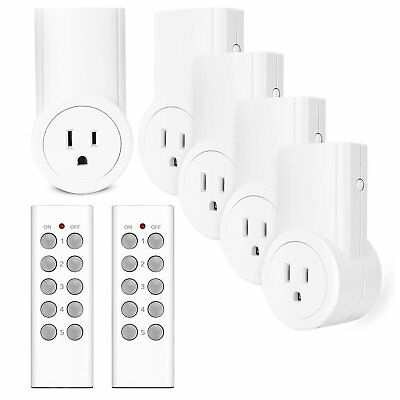 Etekcity® 5 Pack Wireless Remote Control Power Outlet Light Switch w/ 2 Remotes