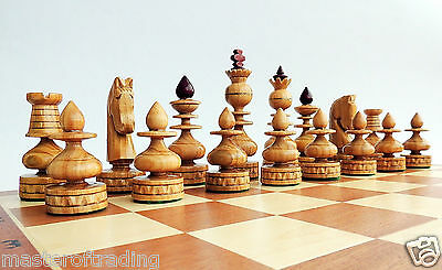 LUXURY ''BIZANT'' WOODEN CHESS SET 60 x 60cm!  INLAID BOARD AND CHERRY PIECES!!!