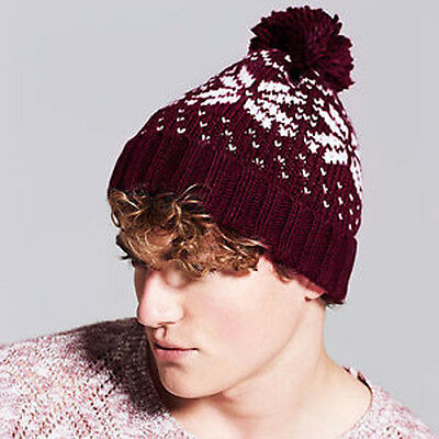 Beechfield Fair Isle Beanie 6 Colours (B456) Vintage Style Woolly Bobble Hat