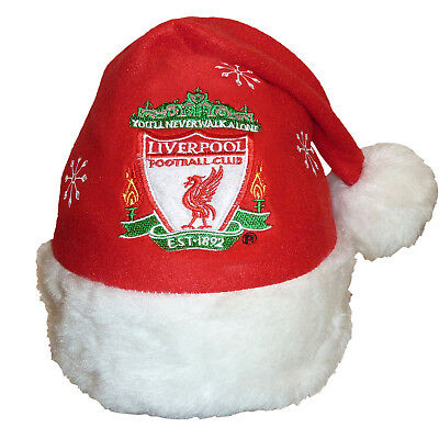 Liverpool FC Official Xmas Gift Christmas Santa Crest Beanie Hat