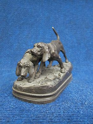 SILVERED BRONZE GROUP OF TWO POINTERS HUNTING by A.DUBUCAND 19th TWO BLOODHOUNDS