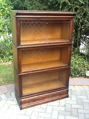 ANTIQUE BARRISTER BOOKCASE BY MACEY-SOLID TIGER OAK WITH DRAWER BASE