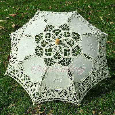 "21"" Battenburg Lace Cotton Parasol Bridal Wedding Decoration Girl Umbrella Ivory"