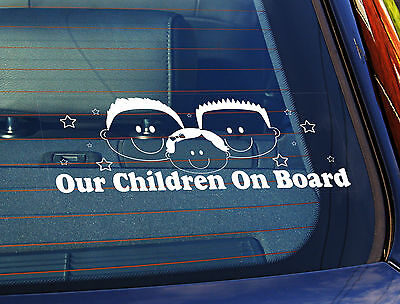 Static Cling Window Car Sign/Decal Sticker Our Children On Board 2 boys Baby G