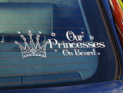 Static Cling Window Car Sign/Decal Sticker Our Princesses On Board Curlycues